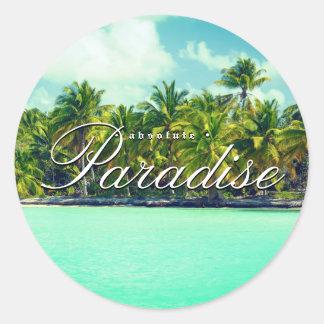 Absolute beach paradise classic round sticker