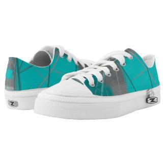 Abstact Green Gray Printed Shoes