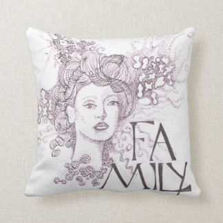 Abstact image of a lady with the title Family Cushion