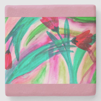 Abstact watercolor tulips stone beverage coaster