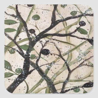 Abstracet Olive Tree Square Sticker