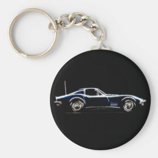 Abstract 1968 Chevrolet Corvette  Keych Basic Round Button Key Ring