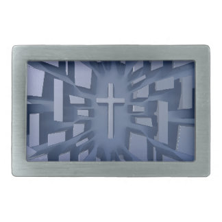Abstract 3D Christian Cross Belt Buckle