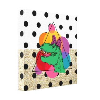 Abstract 50's T-Rex (girl) Gallery Wrap Canvas