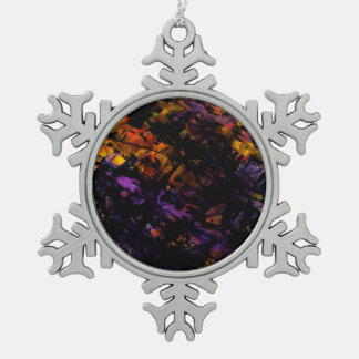 Abstract 6404 snowflake pewter christmas ornament
