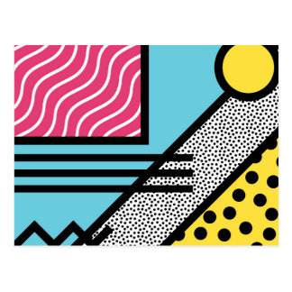 Abstract 80s memphis pop art style graphics postcard