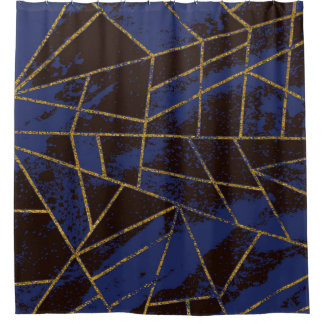 Abstract #941 Blue Shower Curtain