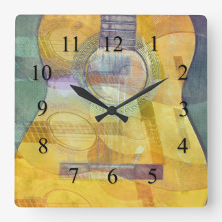 Abstract Acoustic Guitar Wall Clock