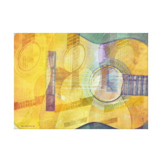 Abstract Acoustic Guitar Wrapped Canvas Stretched Canvas Print