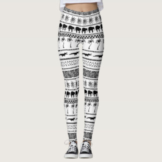 Abstract African black and white leggings. Leggings