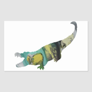 Abstract Alligator Silhouette. Rectangular Sticker