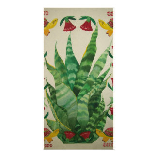 abstract aloe turtles & tulips personalized photo card