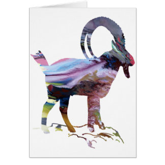 Abstract Alpine Ibex silhouette Card