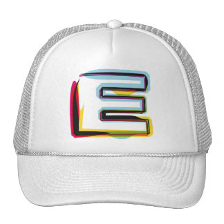 Abstract and colorful letter E Trucker Hats