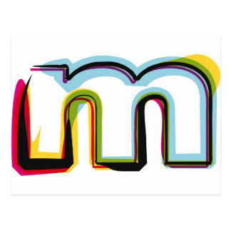 Abstract and colorful letter m postcard