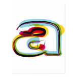 Abstract and colourful letter a postcard