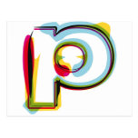 Abstract and colourful letter p postcard