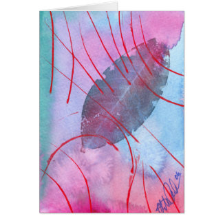 Abstract and delicate autumn leaf greeting card