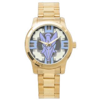 Abstract Angel Pattern Art Unisex Gold Watch
