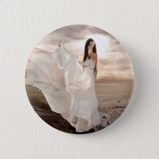 Abstract Angel White Dressed Beauty 6 Cm Round Badge