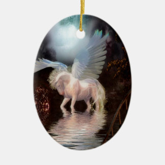 Abstract Angel White Horse Ceramic Oval Decoration