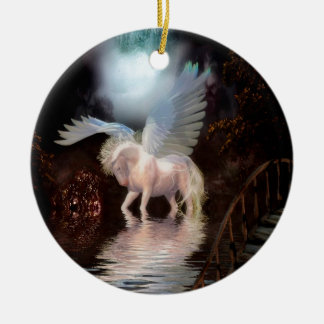 Abstract Angel White Horse Round Ceramic Decoration