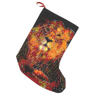 abstract Animal - Lion Small Christmas Stocking
