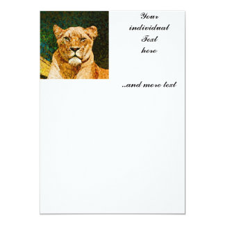 abstract Animal - Lioness 13 Cm X 18 Cm Invitation Card