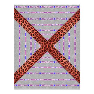Abstract animal print floral stripes pattern 21.5 cm x 28 cm flyer