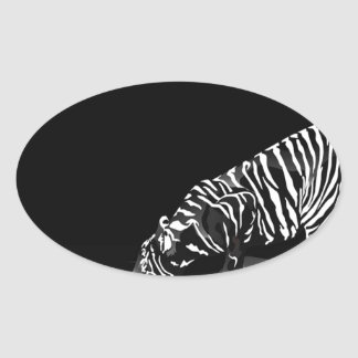 Abstract Animal Stripped Tiger Oval Stickers