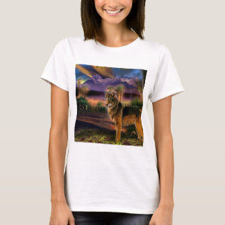 Abstract Animal Wolf Scene T-Shirt