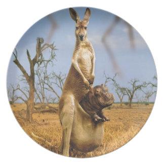 Abstract Animals Kangaroo Baby Shock Plate