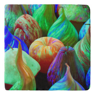 Abstract Apples and Pears Colorful Candles Trivet