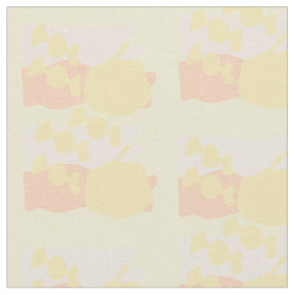 Abstract apples and sweets soft yellow pink fabric