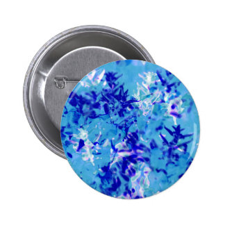 Abstract aqua and blue design, floral based 6 cm round badge