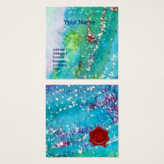ABSTRACT AQUA BLUE TEAL GOLD SPARKLES,RED WAX SEAL SQUARE BUSINESS CARD