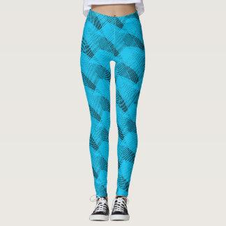 Abstract Aqua Lines Modern Black Leggings
