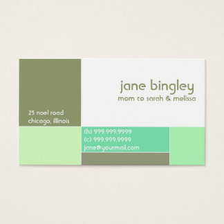 """""""Abstract"""" Aqua & Olive Mommy Business Card"""