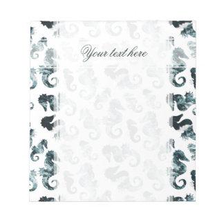Abstract aqua seahorses pattern notepad