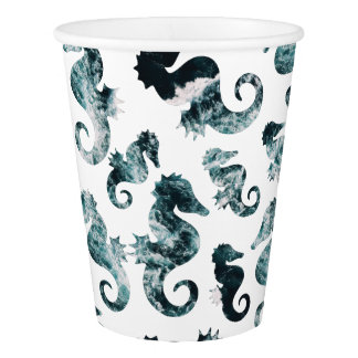 Abstract aqua seahorses pattern paper cup