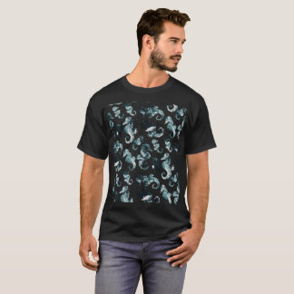 Abstract aqua seahorses pattern T-Shirt