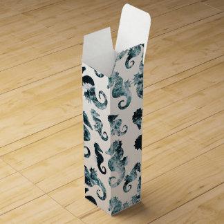 Abstract aqua seahorses pattern wine gift box