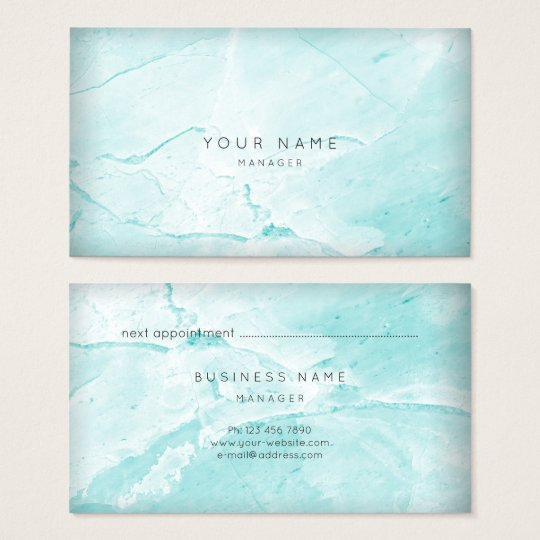 Abstract Aqua Tiffany Marble Appointment Card Gold