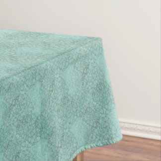 Abstract Aquamarine Floral Outline Tablecloth
