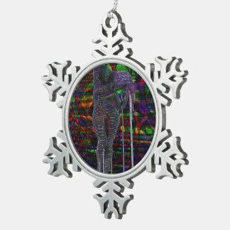 Abstract Aquarius Goddess Snowflake Pewter Christmas Ornament