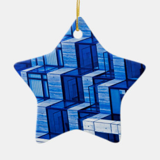 Abstract Architecture -Blue Ceramic Star Decoration