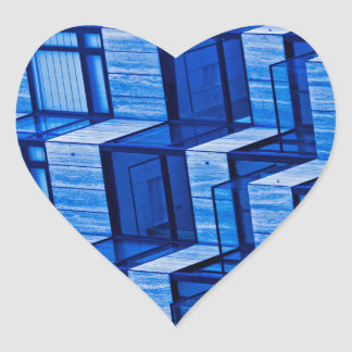 Abstract Architecture -Blue Heart Sticker