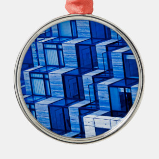 Abstract Architecture -Blue Silver-Colored Round Decoration