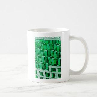 Abstract Architecture -Green Basic White Mug