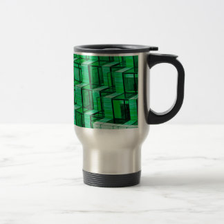 Abstract Architecture -Green Stainless Steel Travel Mug